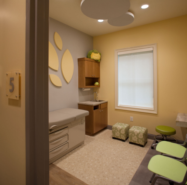 NMN Aug Blog.Facilitaing Healing.Leaf-shaped acoustical wall panels at Winchester Pediatrics